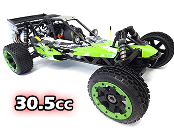 1/5 Rovan 305A Gas Petrol Buggy Ready To Run RTR 30.5cc with PERFORMANCE PIPE! (Green, Black + White)