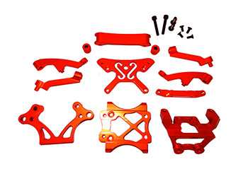 CNC Aluminium Front Parts Kit, towers, bulkhead, supports, brace  (orange)