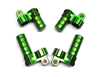 Baja Billet Aluminum Reservoir, Piggy Back Shock Caps (4) Green