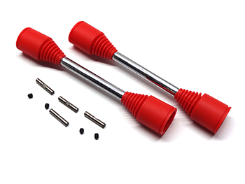 Baja Heavy Duty 9mm Drive Shafts, Dog Bones with replaceable pins (Red Boots)