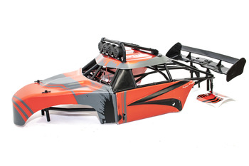 Rovan FT Internal Roll Cage w/ Body Panels, L.E.D Lighted Light Bar and Large SLT Rear Wing (Red/Black)