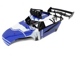 Rovan FT Internal Roll Cage w/ Body Panels, L.E.D Lighted Light Bar and Large SLT Rear Wing (Blue/White)