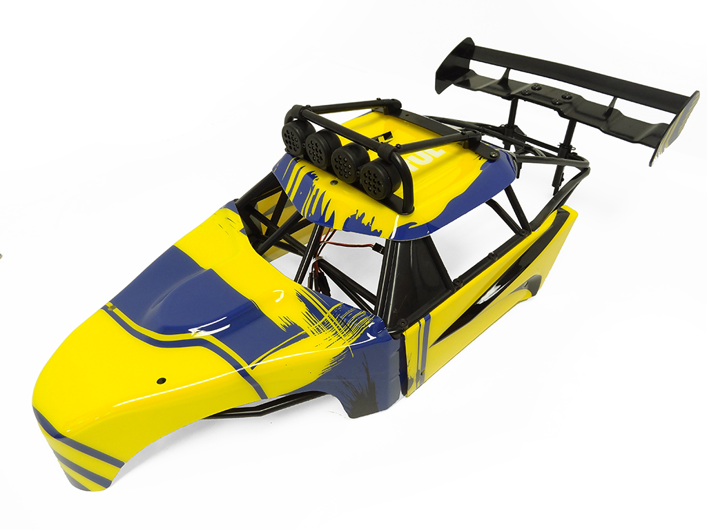 Rovan FT Internal Roll Cage w/ Body Panels, L.E.D Lighted Light Bar and Large SLT Rear Wing (Yellow/Blue)