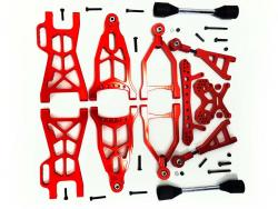1/5 Baja Extended CNC Aluminum Front & Rear Suspension Kit Arm Set (orange-red)