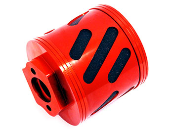 CNC Baja Alloy Angled Foam Air Filter Kit (red-orange)