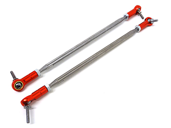 Max 5T TS CNC Alloy/Steel Steering Turnbuckle Links, Aluminum Ends (Red)