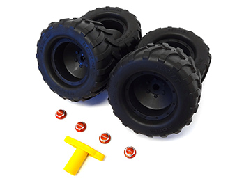 Baja MAX 5T 5TS Monster Truck Tires w/ Wheels (4) (red-orange hubs) Also Fits Traxxas X-MAXX