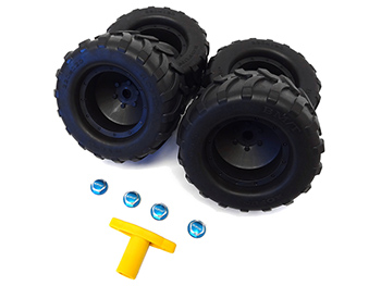 Baja MAX T, MAX TS Monster Truck Tires w/ Wheels (4) (blue hubs) Fits Traxxas X-MAXX