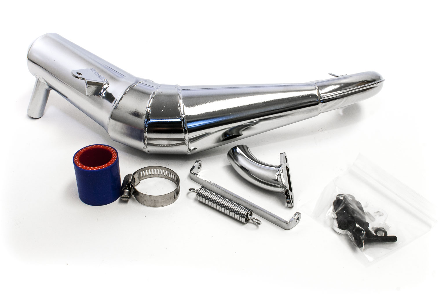 Chrome Steel Performance V2 Silenced Tuned Pipe Fits LOSI 5IVE-T, Rovan LT and KM X2