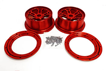 Rovan LT Truck 1/5 Scale CNC Orange Aluminum Rims Fits LOSI 5IVE-T King Motor X2