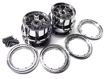 Rovan LT Short Course Truck or SLT Buggy Chrome Rims and Beadlocks (Set of 4)