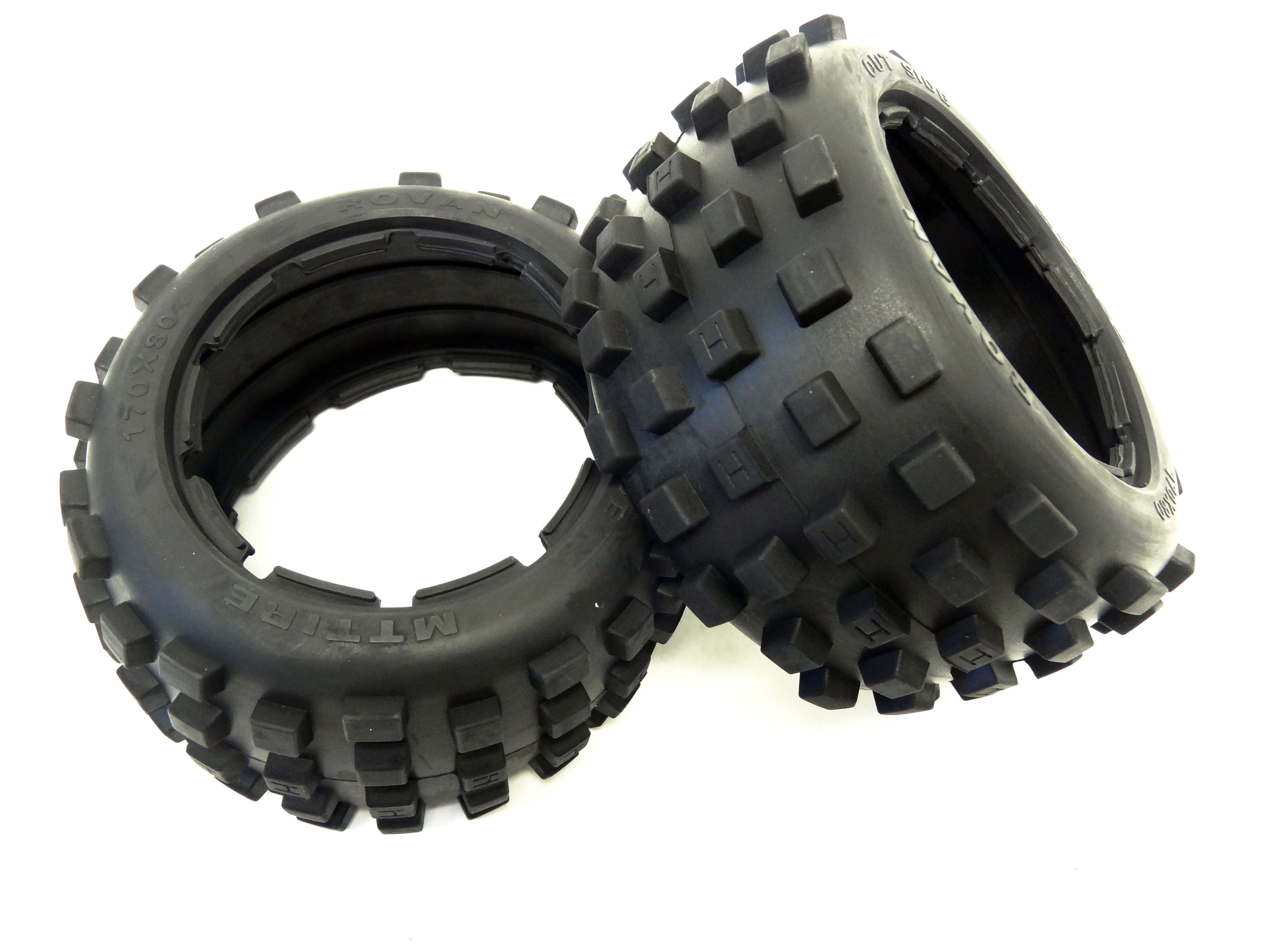 Baja Buggy Rear Knobby MT Off Road Tires (set of 2) Fits HPI Baja 5B
