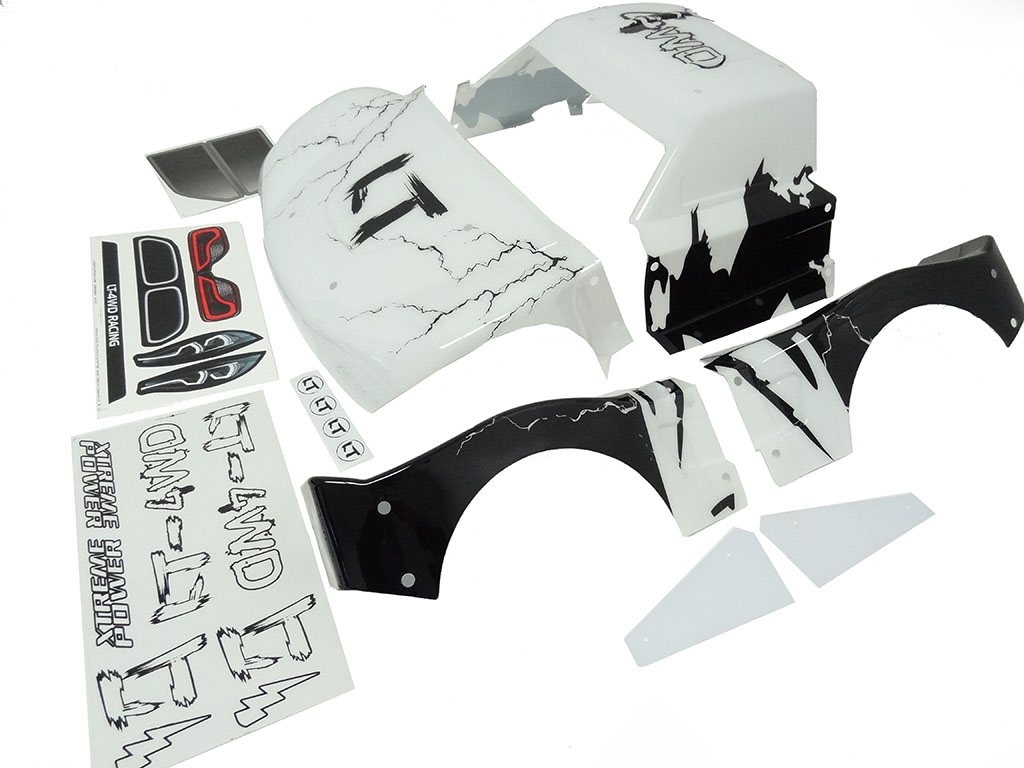 Rovan LT Painted Body Kit (white & black Lightning)