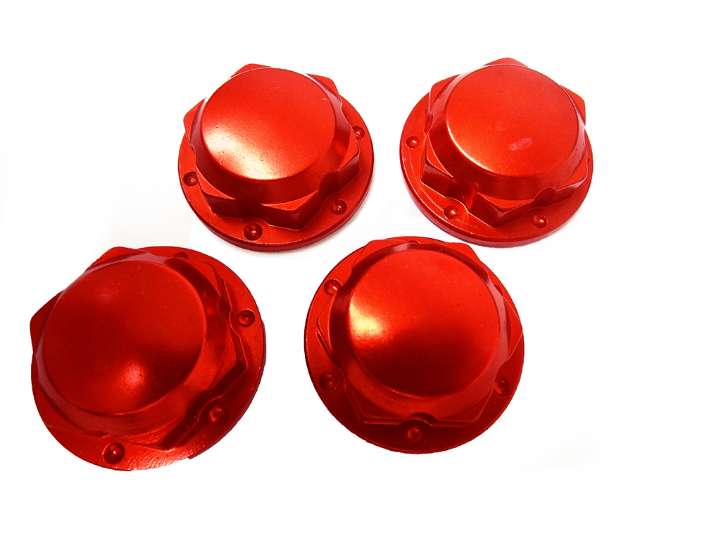 CNC Aluminum Enclosed Wheel Nuts (reddish/orange)