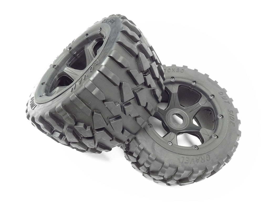 1 5 Scale Baja Rear Gravel All Terrain Tires On 5 Spoke Wheels