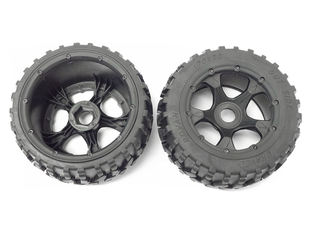 1 5 Scale Baja Rear Gravel All Terrain Tires On 5 Spoke Whee