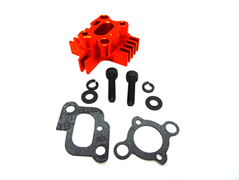 CNC Aluminum Intake Spacer, Carburetor Mount (reddish orange) Fits 23cc-30.5cc RC engines