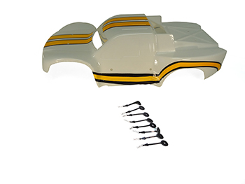 Short Course Truck Body Painted and Precut (white/yellow) HPI Baja 5SC Style