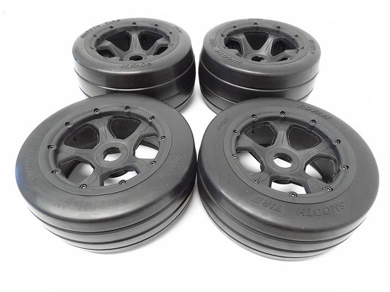 Baja Buggy FC On-Road Racing Slick Tires Mounted on 5-Spoke Rims HPI 5R