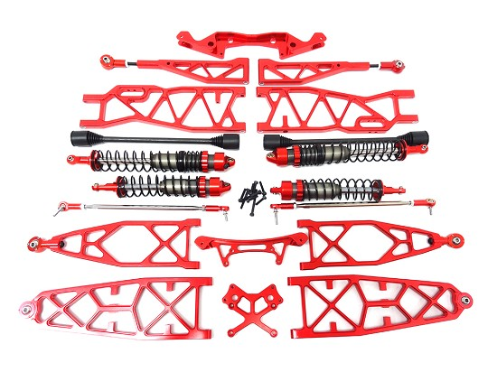 NEW Baja MAX Extended CNC Aluminum Front & Rear Suspension Kit (red-orange)