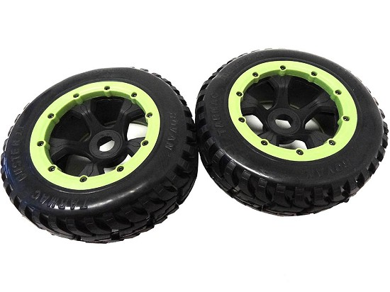 1/5 Scale Baja Truck Mounted Mud Terrain Tire on Rims (Green)