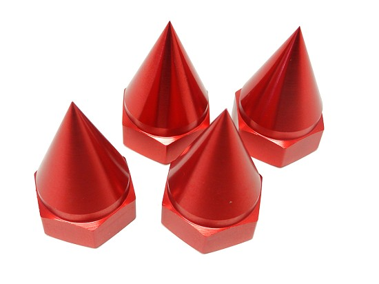 Enclosed Pointed CNC Baja Aluminum Wheel Nuts (Red)